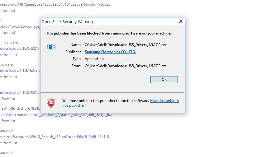 this publisher has been blocked from running software on your machine
