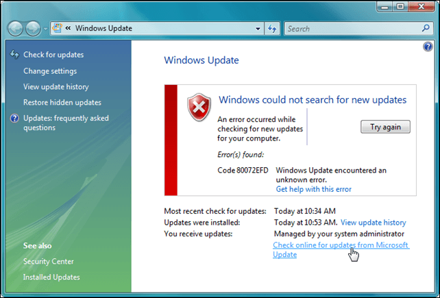 How to Fix Windows 10 Update Error Code 0x80072efd