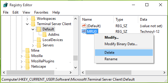 How to Clear RDP Connections History in Windows 10