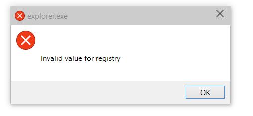 invalid value for registry windows 10 photos