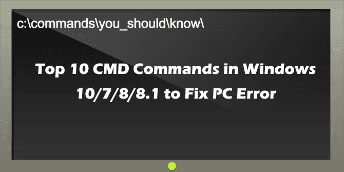 CMD commans to fix PC errors