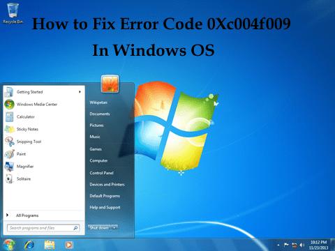 error code 0xC004F009
