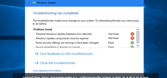 "How to Fix ""Potential Windows Update Database Error Detected"" Windows 10"