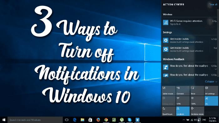 turn of notifications in Windows 10